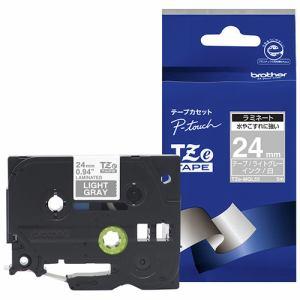 ブラザー TZE-MQL55 ラベルライター ピータッチ(P-Touch)用 ラミネートテープ ライトグレー 白文字 24mm