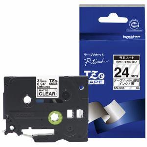 ブラザー TZE-M51 ラベルライター ピータッチ(P-Touch)用 ラミネートテープ 透明つや消し 黒文字 24mm