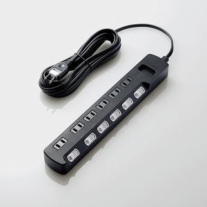 エレコム AVT-K6A-2650BK TV用ほこり防止シャッター付雷ガードタップ 6個口 5.0m ブラック