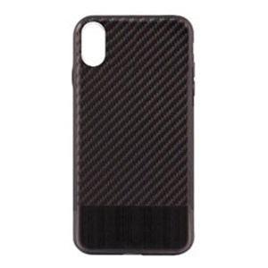 オウルテック OWL-CVIP823-BKBK iPhone X用 背面ケース カーボン柄 ブラックxブラックメタル