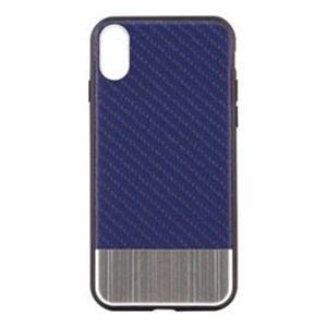 オウルテック OWL-CVIP823-SINV iPhone X用 背面ケース カーボン柄 ネイビーxシルバーメタル