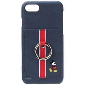 b462db219e PGA PG-DCS338MKY iPhone 8 ディズニーハードケース ポケット&リング付き ミッキーマウス ネイビー