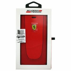 エアージェイ FEPIFLBKI8LRE iPhone8 Plus/7 Plus/6s Plus/6 Plus専用 PUレザー手帳型ケース PIT STOP - Booktype Case - Black Trim - Red Carbon design