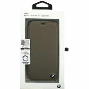 エアージェイ BMFLBKPXGLSCTA iPhone X用 BMW 本革手帳型ケース モカ
