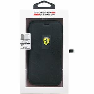 エアージェイ フェラーリ FESCODFLBKPXBK iPhone X専用 ナイロン手帳型ケース ブラック