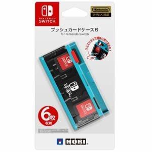 ホリ NSW-127 プッシュカードケース6 for Nintendo Switch ネオンブルー
