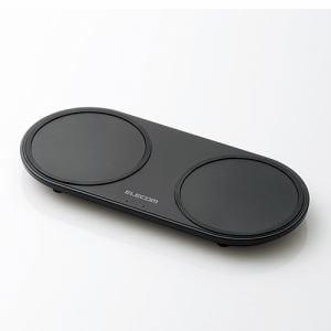 エレコム W-QA05BK Qi規格対応ワイヤレス充電器 5W+5W 2台同時充電 卓上タイプ ブラック