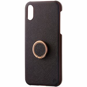 Softbank Selection INVOL SB-IA17-CBRG/BR クロスブラウン iPhone X用ケース リングケース