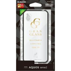 エレコム AQUOS sense2 ハイブリッドケース ガラス 背面カラー ホワイト PM-SH01LHVCG3WH