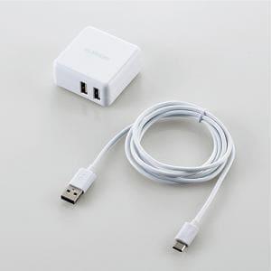 エレコム MPA-ACC08WH AC充電器(3.6A/2ポート/A-Cケーブル付) ホワイト