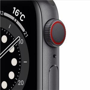 アップル(Apple) M06P3J/A Apple Watch Series 6(GPS + Cellularモデル)- 40mmスペースグレイアルミニウムケースとブラックスポーツバンド