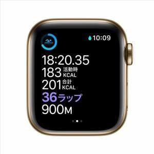 アップル(Apple) M06V3J/A Apple Watch Series 6(GPS + Cellularモデル)- 40mmゴールドステンレススチールケースとキプロスグリーンスポーツバンド