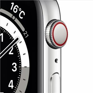 アップル(Apple) M09D3J/A Apple Watch Series 6(GPS + Cellularモデル)- 44mmシルバーステンレススチールケースとホワイトスポーツバンド