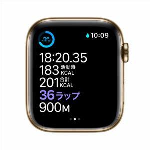 アップル(Apple) M09F3J/A Apple Watch Series 6(GPS + Cellularモデル)- 44mmゴールドステンレススチールケースとキプロスグリーンスポーツバンド