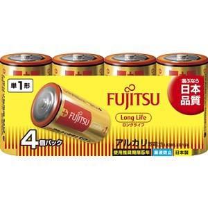 富士通 アルカリ乾電池 ロングライフタイプ 単1形 1.5V 4個パック LR20FL(4S)