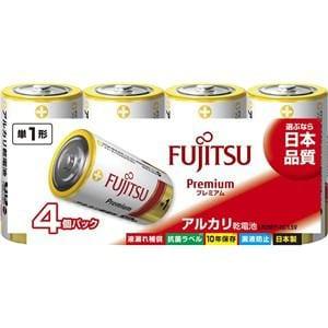 富士通 アルカリ乾電池 プレミアムタイプ 単1形 1.5V 4個パック LR20FP(4S)