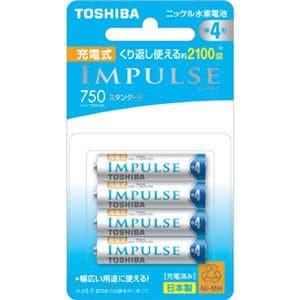 東芝 ニッケル水素電池 「充電式IMPULSE」 スタンダードタイプ 単4形 4本 TNH-4ME 4P