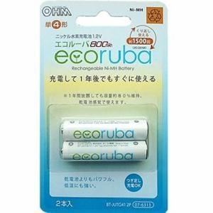 オーム電機 BT-JUTG41 2P ECORUBAニッケル水素充電池単四形2本セット 800mA/約1,500回くり返し