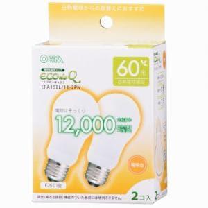 オーム電機 EFA15EL/11-2PN 電球形蛍光灯 E26 60形相当 電球色 エコデンキュウ 2個入