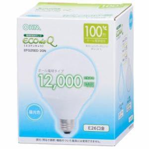 オーム電機 EFG25ED/20N 電球形蛍光灯 ボール形 E26 100形相当 昼光色 エコデンキュウ