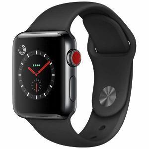 アップル(Apple) MQLW2J/A Apple Watch Series 3(GPS + Cellularモデル) 38mm スペースブラックステンレススチールケースとブラックスポーツバンド