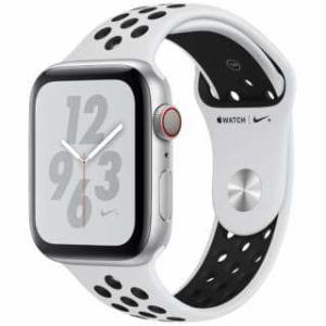 アップル(Apple) Apple Watch Nike+ Series 4(GPS + Cellularモデル)- 44mm シルバーアルミニウムケースとピュアプラチナム/ブラックNikeスポーツバンド MTXK2J/A
