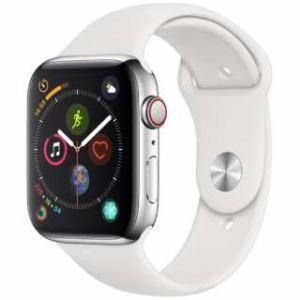 アップル(Apple) Apple Watch Series 4(GPS + Cellularモデル)- 44mm ステンレススチールケースとホワイトスポーツバンド MTX02J/A