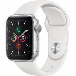 アップル(Apple) MWV62J/A Apple Watch Series 5(GPSモデル)- 40mmシルバーアルミニウムケースとホワイトスポーツバンド - S/M & M/L