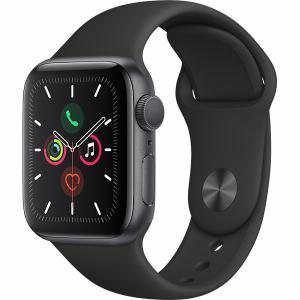 アップル(Apple) MWV82J/A Apple Watch Series 5(GPSモデル)- 40mmスペースグレイアルミニウムケースとブラックスポーツバンド - S/M & M/L