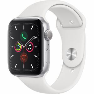 アップル(Apple) MWVD2J/A Apple Watch Series 5(GPSモデル)- 44mmシルバーアルミニウムケースとホワイトスポーツバンド - S/M & M/L