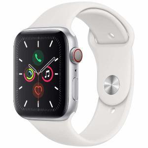 アップル(Apple) MWWC2J/A Apple Watch Series 5(GPS + Cellularモデル)- 44mmシルバーアルミニウムケースとホワイトスポーツバンド - S/M & M/L