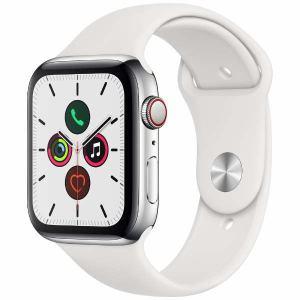 アップル(Apple) MWWF2J/A Apple Watch Series 5(GPS + Cellularモデル)- 44mmステンレススチールケースとホワイトスポーツバンド - S/M & M/L