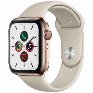アップル(Apple) MWWH2J/A Apple Watch Series 5(GPS + Cellularモデル)- 44mmゴールドステンレススチールケースとストーンスポーツバンド - S/M & M/L