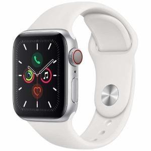 アップル(Apple) MWX12J/A Apple Watch Series 5(GPS + Cellularモデル)- 40mmシルバーアルミニウムケースとホワイトスポーツバンド - S/M & M/L