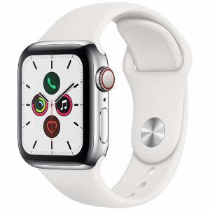 アップル(Apple) MWX42J/A Apple Watch Series 5(GPS + Cellularモデル)- 40mmステンレススチールケースとホワイトスポーツバンド - S/M & M/L