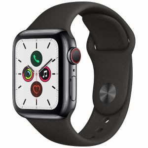 アップル(Apple) MWX82J/A Apple Watch Series 5(GPS + Cellularモデル)- 40mmスペースブラックステンレススチールケースとブラックスポーツバンド - S/M & M/L