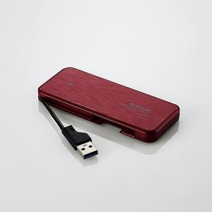 エレコム ESD-EC0120GRD ケーブル収納型外付けポータブルSSD 120GB レッド