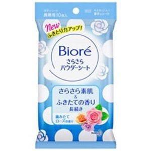 花王 Biore(ビオレ) さらさらパウダーシート 摘みたてローズの香り 携帯用(10枚)デオドラント(女性向け)