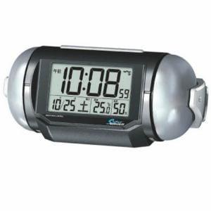 セイコークロック NR523K PYXIS スーパーライデン 大音量電波目覚し時計 黒メタリック ベル音アラーム(スヌーズ付)