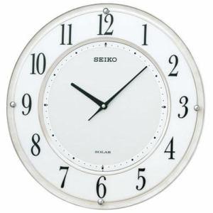 セイコークロック SF506W ソーラー 電波掛時計 白マーブル模様塗装 クイックスタート 石膏ボード用掛金具付