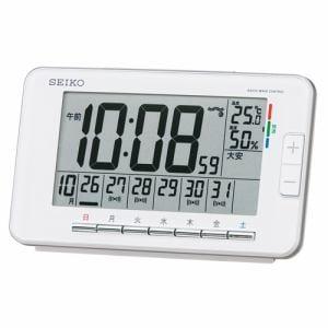 セイコークロック SQ774W 快適度表示付デジタル時計 電波掛時計 温湿度表示 ウィークリーアラーム機能(スヌーズ付) ライト付