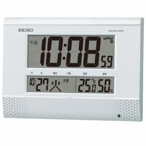 セイコークロック SQ435W 電波クロック デジタル表示 温湿度表示 置用スタンド付
