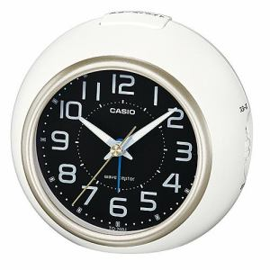 カシオ TQ-760J-7BJF 置き時計 電子音アラーム スヌーズ機能 LEDライト ホワイト/シャンパンゴールド 電波モデル
