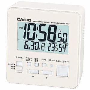 カシオ DQD-805J-7JF 置時計 ホワイト スヌーズ機能 温度・湿度計付 デジタル電波モデル