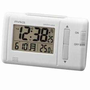 ノア精密 T-692WH-Z MAG ファルツ デジタル電波時計 ホワイト 温度表示 バックライト付