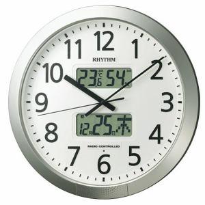 リズム時計 4FN404SR19 掛時計 プログラムカレンダー シルバーメタリック色