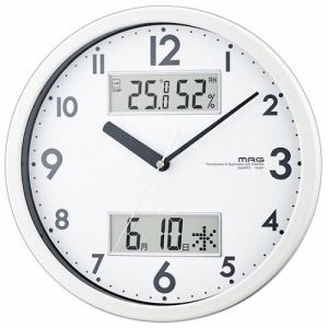 ノア精密 W-631 WH MAG ダブルメジャー 温・湿度計付掛時計 ホワイト 連続秒針機能 カレンダー表示付
