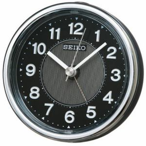 セイコークロック KR895K スタンダード 目覚し時計 黒メタリック塗装 電子音アラーム(スヌーズ) スイープセコンド