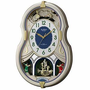 リズム時計 4MN543RH18 スモールワールドカラーズ アミュージング掛け時計 電波時計 上部・下部振り子付
