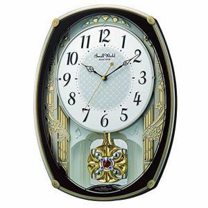 リズム時計 4MN540RH06 スモールワールドレジーナ 電波掛け時計 ステップ秒針 毎正時オーロラサウンドメロディ